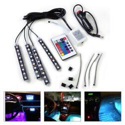 4x Car Interior 9 LED Floor Remote Control Colorful Decorative Lights Neon Strip $11.04
