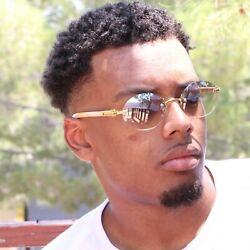 Mens CLASSY Style Wood Buffs Vintage Oval Style Rimless Clear Lens Eye Glasses $14.95