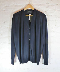 DEREK LAM women's cashmere silk V neck sweater cardigan size S Navy solid