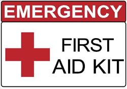 EMERGENCY FIRST AID KIT DECAL SAFETY SIGN STICKER OSHA HOSPITAL