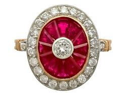 Vintage 1.30Ct Ruby and 0.90Ct Diamond 18k Yellow Gold Dress Ring Circa 1980