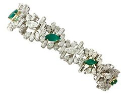 Vintage 4.63ct Emerald and 16.27ct Diamond Platinum and 18ct Gold Bracelet