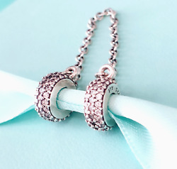 Authentic Pandora Silver 925 ALE Charm Pave Inspiration Safety Chain 791736 #a