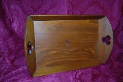 Wooden Butler Serving Tray with Cut Out Handles Vintage Beautiful