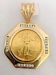 22K FINE GOLD 1 OZ LADY LIBERTY COIN WITH 1 CT. T.W. DIAMONDS 14K FRAME PENDANT