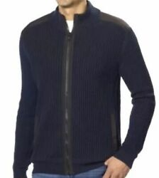 Calvin Klein Men's Full Zip Cable Knit Ribbed Sweater 100% Cotton