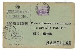 1924 Palena Italy Commercial Post Card to Naples Bank 50c Stamp Perry Como