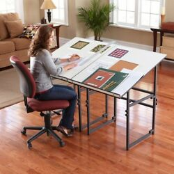 Expandable Work Table She Shed Woman Cave Drafting Table with Tilting Tabletop
