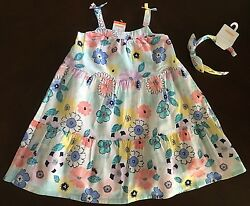 New Gymboree Girl Tropical Breeze Aqua Floral Maxi Dress & Headband  2T 3T