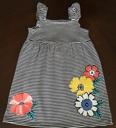 New Gymboree Girl Tropical Breeze Gym Navy Stripe Dress Size 2T 3T