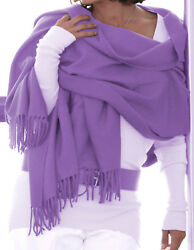 Luxe Oh` Dor 100% Cashmere Stole Scarf 4 Threads Purple Lavender 78 1116x35