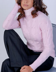 Luxe Oh` Dor 100% Cashmere Sweater Braid Pattern Rosa 12 Threads 461623.1oz XL