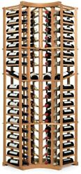 72-Bottle Floor Bar and Wine Rack Storage with 4-Column Curved Corner Mahogany