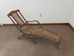 Antique Vintage Wood Folding Chase Lounge Steamer Ship Deck Chair 1890s RARE!
