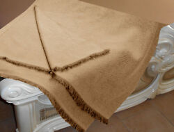 Luxe Oh` Dor 100% Cashmere Cover Plaid 4 Thread Beige Natural 51 316x74 1316in