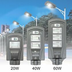Outdoor LED Solar Powered Wall Street Light 20 40 60W PIR Motion Security Lamp $14.99