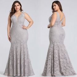 Ever Pretty US Grey Lace Mermaid Evening Gowns Plus Size Cocktail Dresses Maxi $44.99
