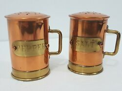 Copper & Brass Salt and Pepper Shakers w Handles Vintage 2.5
