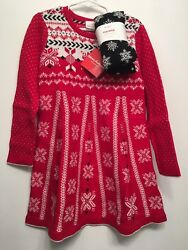 Hanna Andersson Sweater Dress Red Snowflake & Matching Tight Girls 110 5-6 NWT