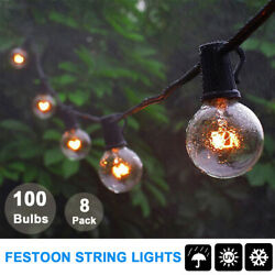 8X G40 Outdoor Patio Globe Festoon String Lights Party Xmas Bulb Light 100 Bulbs