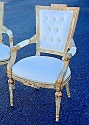 4 Neoclassical Style Maitland Smith Parcel Giltwood & carved  Dog Head Armchairs