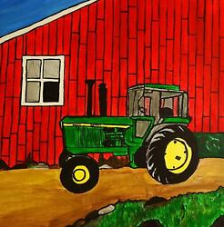 John Deere tractor painting country landscape help me and my dog fight cancer