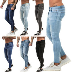 GINGTTO Mens Skinny Jeans Ripped Distressed Stretch Slim Fit Biker Denim Pants