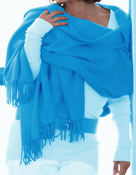 Luxe Oh` Dor 100% Cashmere Stole Scarf 4 Thread Pacific Blue 78 1116x35 38in