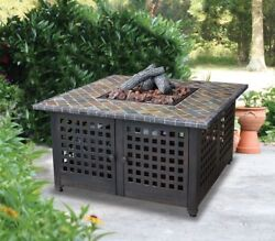 Outdoor Fire Pit SlateMarble Mantel Table Patio Deck Backyard Heater Fireplace