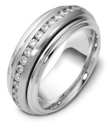 Plat. 18K Rolling 8MM Wedding Band 78 cttw sz 4-14