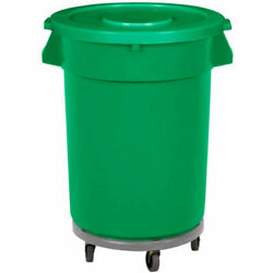 32 Gallon Trash Can Ingredient Bin Lid Dolly Commercial Kit Recycling NSF GREEN