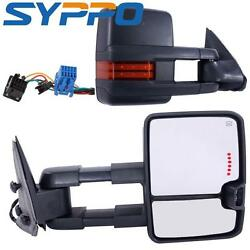 BLACK For 03-07 Chevy GMC Power Heated WLED SignalBackup Lamp Towing Mirrors