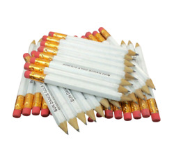 White Golf Half Pencils with Eraser Pack of 36 Misprinted Classroom Pew Pocket $8.41