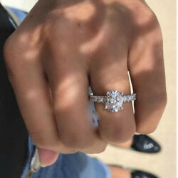 14k Real White Gold 1.35ct Oval & Round Cut Diamond Engagement Wedding Ring