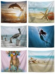 6 pieces old wall beach mermaid ocean animal wall hanging tapestries $54.95