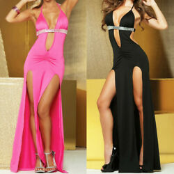 US Women Sexy Deep V-neck Lingerie Dress Long Skirt Nightwear With G-string FMAD