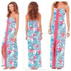 NWT Lilly Pulitzer Angela Maxi Dress Resort White Size 4 She She Shells