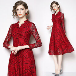 Spring Women's Fashion Temperament V-neck Lace Hollow Out A-line Dress Zsell $18.44
