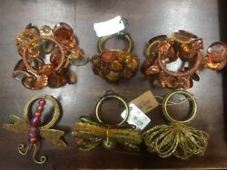 6 Beaded NaturalBrownTan Color Napkin Ring Holders circle home table Flower
