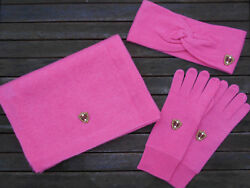 Luxe Oh` Dor 100% Cashmere Cashmere Gift Set Pink Scarf Gloves Headband