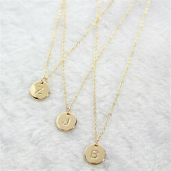 Simple Letter Round Pendant Chain Necklace Women's Jewelry Party Gift Small