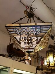 *Vintage Stained Glass and Wrought Iron Hanging Chandelier (3) Matching Sconces