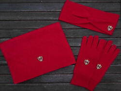 Luxe Oh` Dor 100% Cashmere Cashmere Gift Set Red Scarf Gloves Headband
