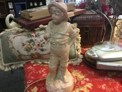 Vintage French Country Lamp Boy Holding Sack Plaster Excellent Condition LOOK $39.99