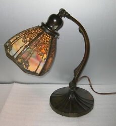HANDEL FILIGREE 6 PANEL DESK LAMP   ca. 1910
