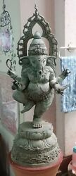 MAGNIFICENT! Khmer Cambodia Bronze Dark Ages Lord Ganesh 34 Inch