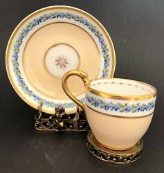 Antique Biedermeier coffee cup amp; saucer Schlaggenwald C. 1820 $225.00
