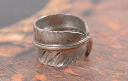 Mint- Authentic Goro's Handmade 925 Sterling Silver Feather Ring No.14