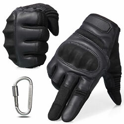 Leather Assault Full Finger Tactical Gloves Hunting Airsoft Shooting Combat Mens $18.99