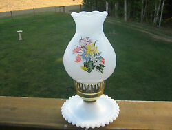 MILK GLASS W FLORAL GLOBE ELECTRIC HURRICANE BEDROOM LAMP WITH BUBBLE SAUCER $14.99
